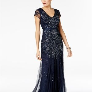 Adrianna Papell Cap-Sleeve Embellished Gown, size2